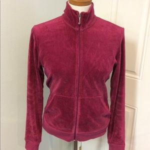 Red Juicy Couture velour track jacket full zip up